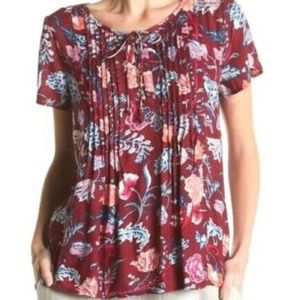 LUCKY BRAND Floral Lace-Up Pintuck Blouse